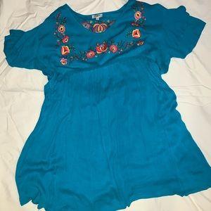 Umgee Boho Embroidered Flutter Sleeve Dress